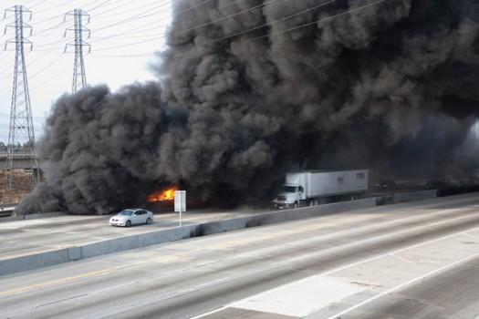 Truck met ethanol in brand