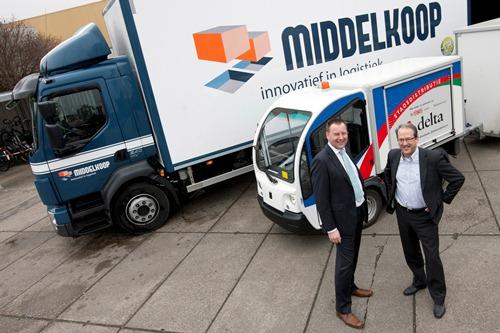 links: de heer Tj. Middelkoop directeur D.J. Middelkoop & Zn. Duiven B.V., rechts: de heer