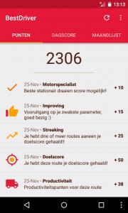 Screenshot uit BestDriver app met terugkoppeling voor koerier