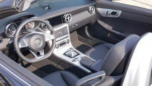 Met de Mercedes cabrio kon helaas geen ritje worden gemaakt...