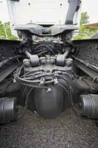 De nieuwe achteras van de Actros, inclusief een (niet zichtbaar) apart cardan om met het olievolume te kunnen variëren.