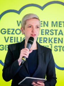Dagvoorzitter Marijke Roskam begeleidde de bijeenkomst.